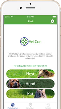 VetCur app på iPhone